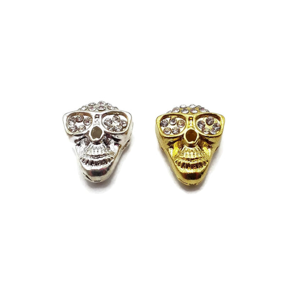 Alloy Silver/Gold Rhinestone Sunglasses Skull Pendant Charm 16x20mm Sold Per PC