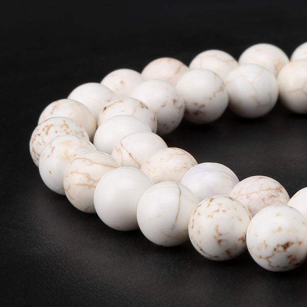 white turquoise smooth round beads