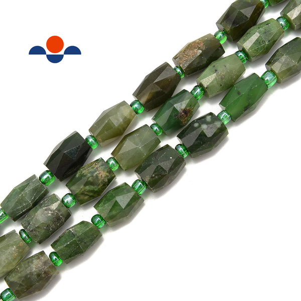 "Nephrite Jade Faceted Barrel Cylinder Tube Beads Size 10x14mm 15.5"" Strand"