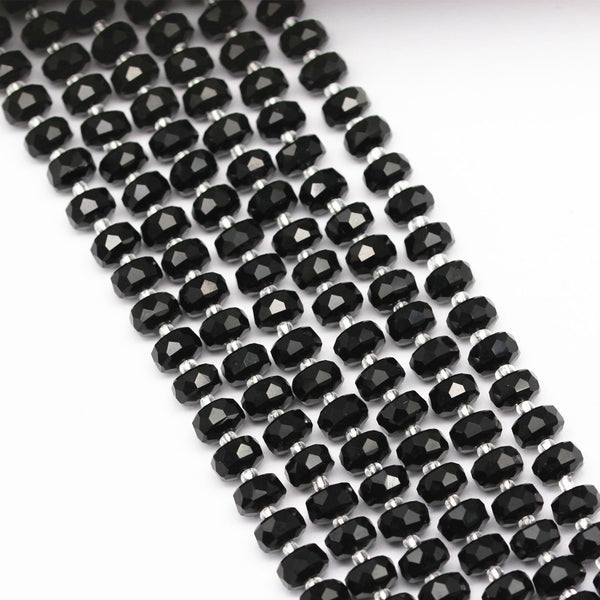 black crystal glass faceted rondelle beads