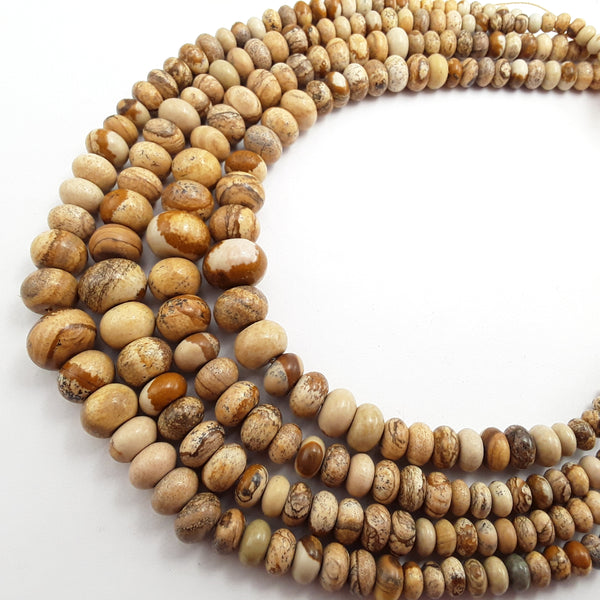 picture jasper graduated smooth rondelle beads