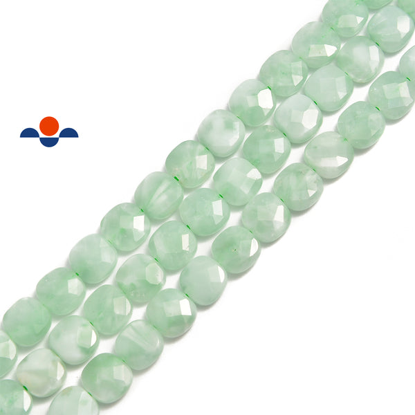 green moonstone faceted flat square beads