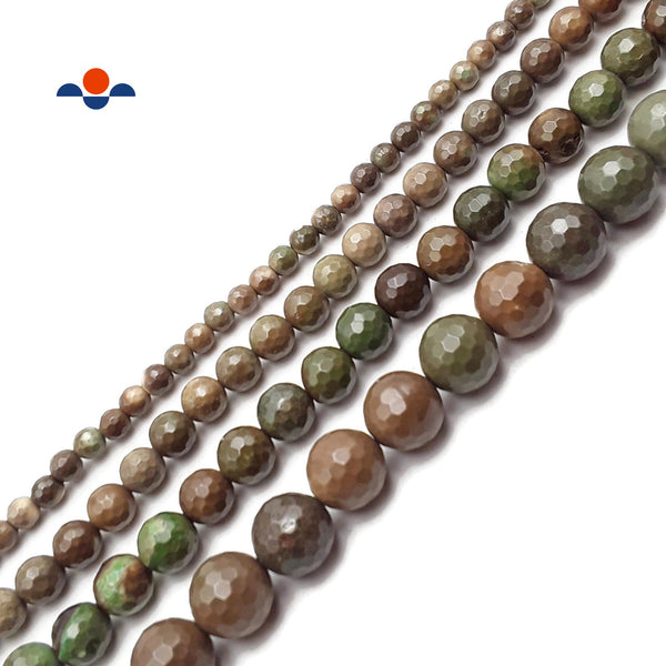 "Brown Green Geothite Chrysoprase Faceted Round Beads 6mm 8mm 10mm 12mm 15.5""Strd"
