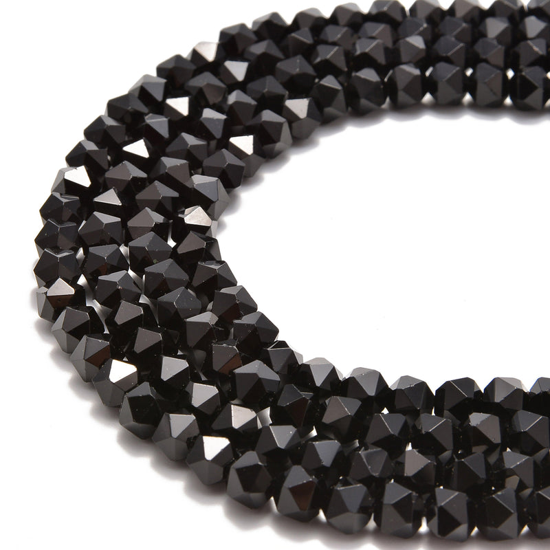 black onyx smooth faceted star cut beads