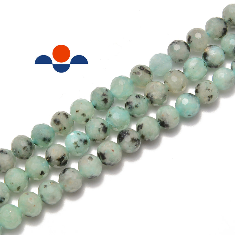 natural chinese sesame jasper faceted round beads