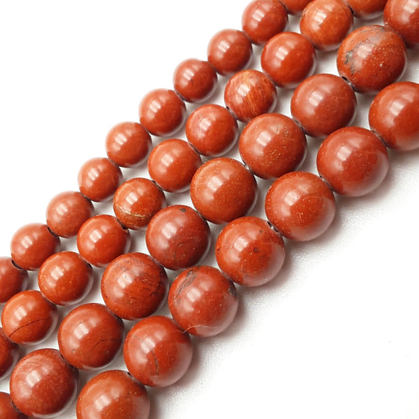 "2.0mm Hole Red Poppy Jasper Smooth Round Beads 8mm 10mm 15.5"" Strand"