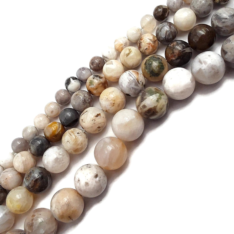 "Bamboo Leaf Agate Smooth Round Beads 4mm 6mm 8mm 10mm 12mm 15.5"" Strand"