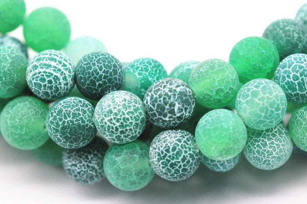 green fire agate Crackled matte round beads