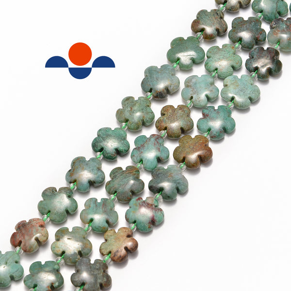 green jasper flower shape beads
