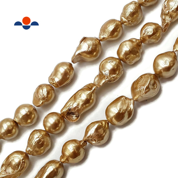 "Gold Coated Fresh Water Pearl Baroque Flameball Beads Approx 16x20mm 15.5""Strand"