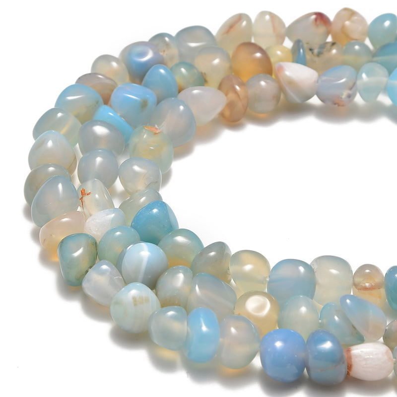 blue lace agate irregular pebble nugget beads