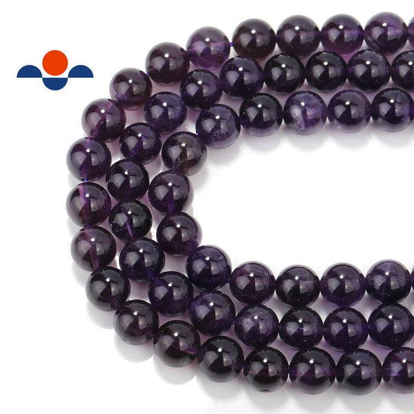 natural amethyst smooth round beads
