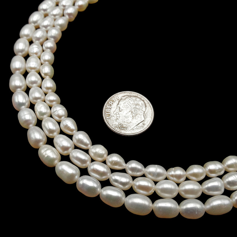 "Fresh Water Pearl White Oval Rice Beads Approx 4x5mm 5x6mm 5x7mm 15.5"" Strand"