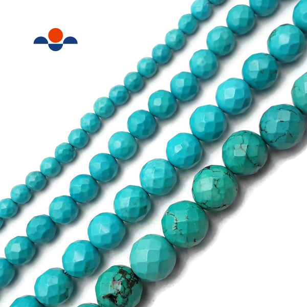 "Green Blue Magnesite Turquoise Faceted Round Beads 6mm 8mm 10mm 12mm 15.5"" Strand"