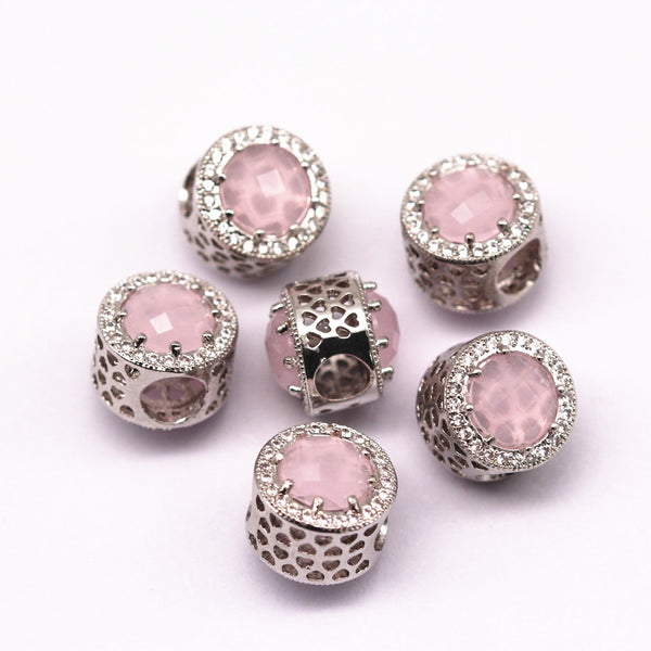 silver micro pave pink synthetic zircon flat wheel charm