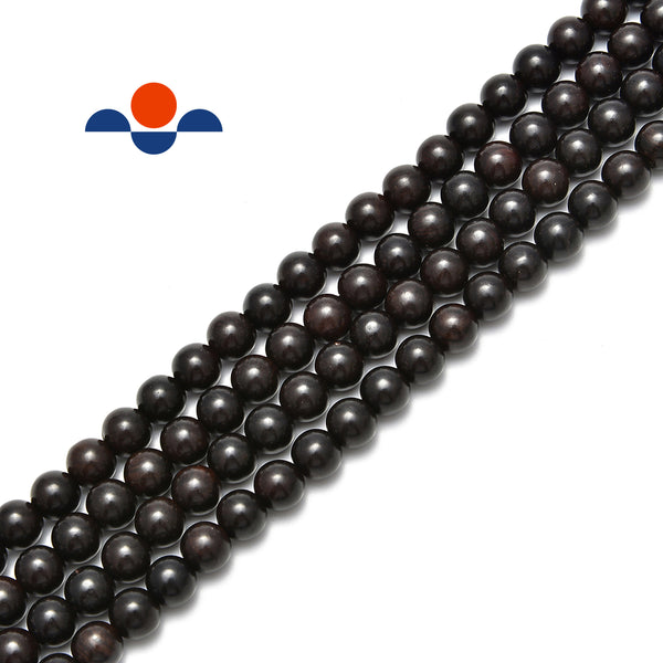 "Black Sandalwood Smooth Round Beads 6mm 8mm 10mm 12mm 15.5"" Strand"
