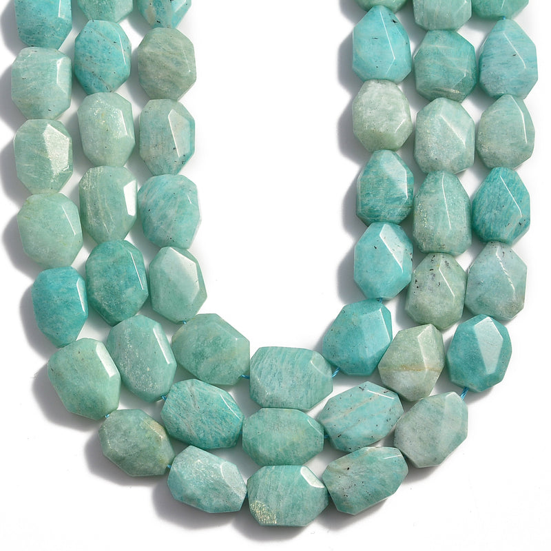 natural amazonite rectangle twist faceted octagon