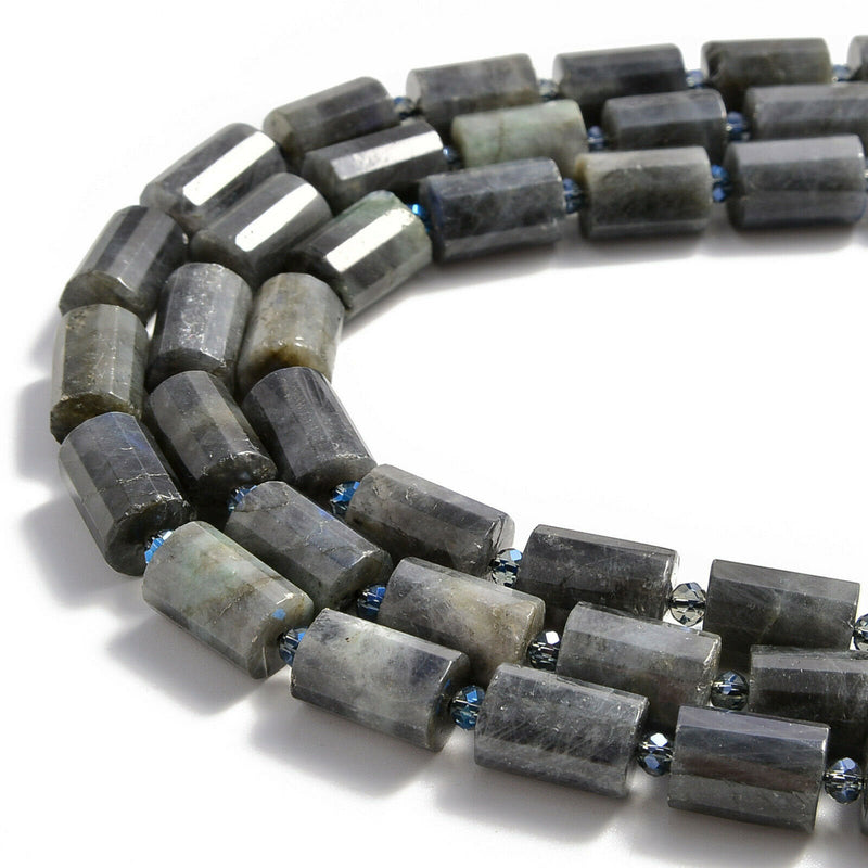 labradorite faceted cylinder tube beads