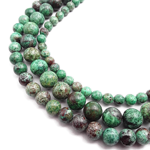 green chrysocolla smooth round beads