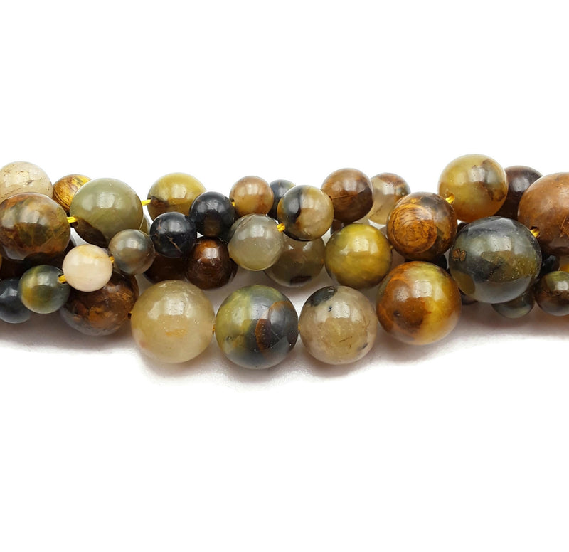 "Golden Pietersite Smooth Round Beads 4mm 6mm 8mm 10mm 12mm 15.5"" Strand"