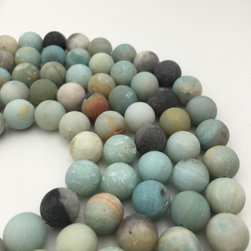 large hole multi color amazonite matte round beads