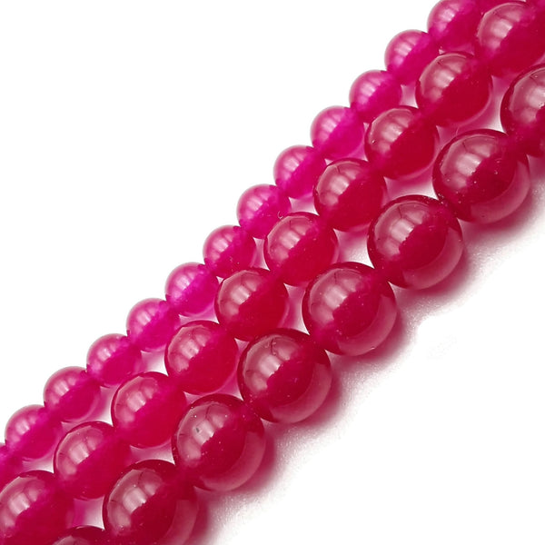 "Fuchsia Pink Dyed Jade Smooth Round Beads 4mm 6mm 8mm 10mm 15.5"" Strand"