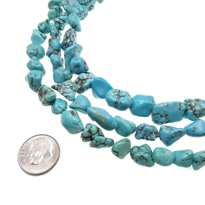 light blue magnesite turquoise nugget chunk beads