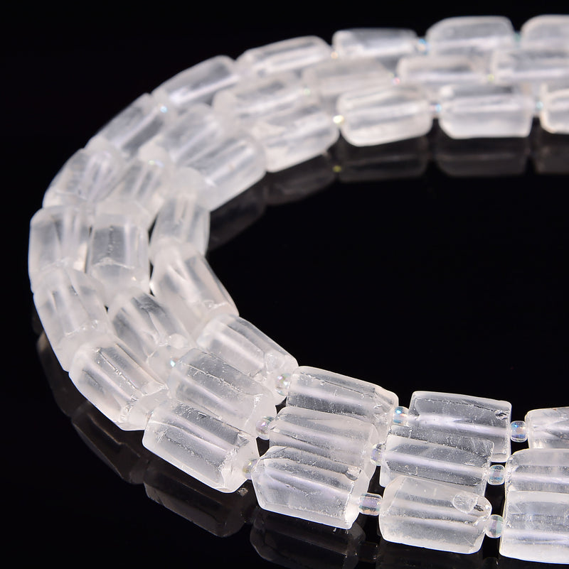 clear quartz matte cylinder tube beads