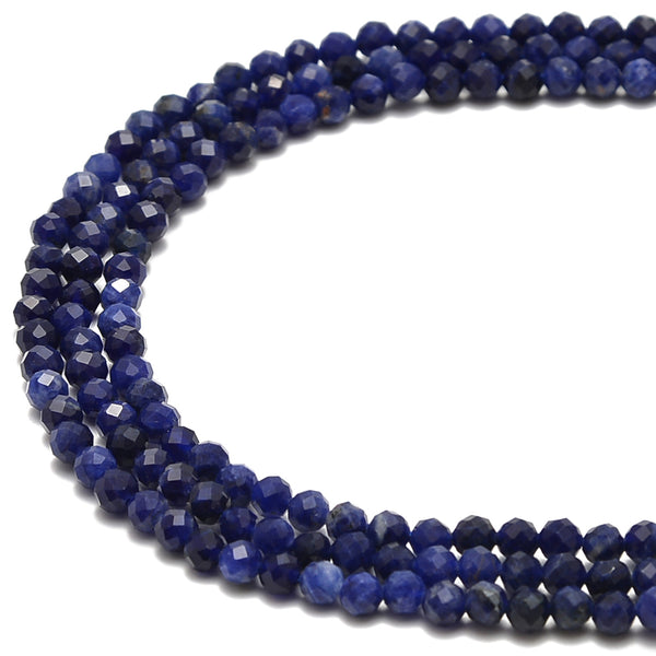 "Dark Blue Sodalite Faceted Round Beads Size 4mm 6mm 15.5"" Strand"
