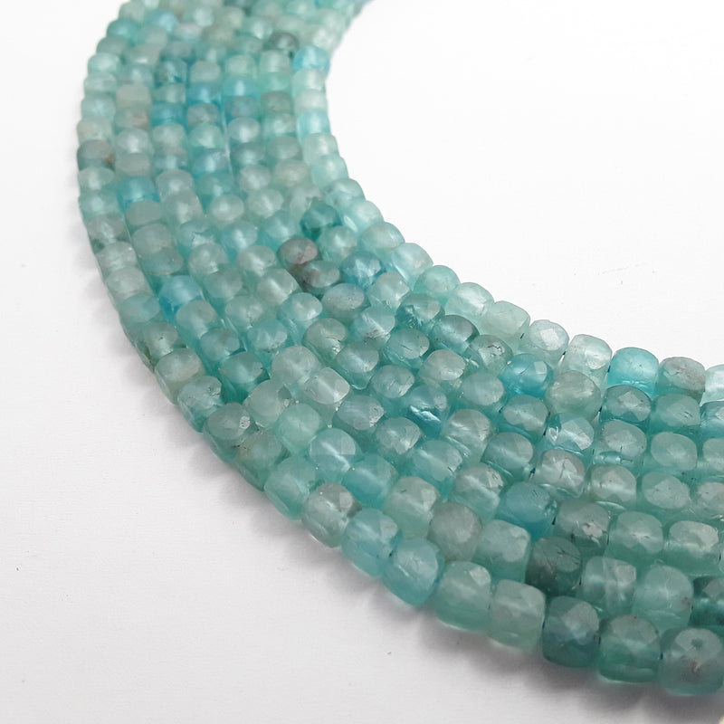 natural apatite matte faceted square cube dice beads