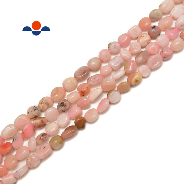 Pink Opal Pebble Nugget Beads Size Approx 6x8mm 15.5'' Strand
