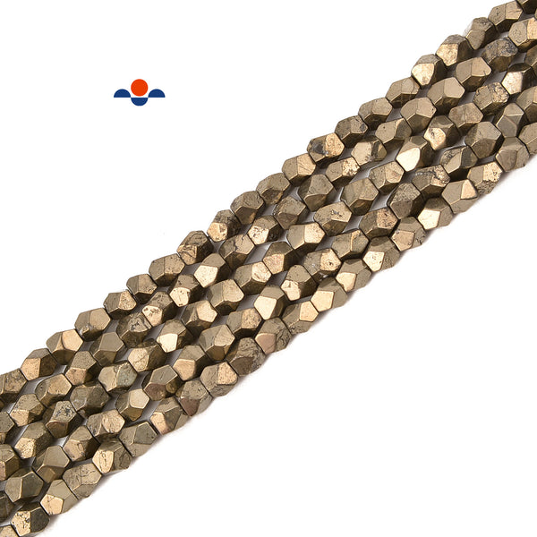 Natural Pyrite Faceted Nugget Beads Size 5-6 mm 15.5'' Strand