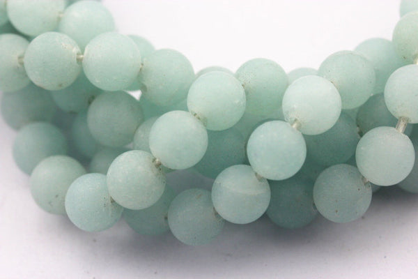 large hole aqua color quartz matte round beads