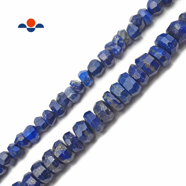 "Natural Lapis Lazuli Irregular Faceted Rondelle Beads 5x7mm 6x9mm 15.5"" Strand"