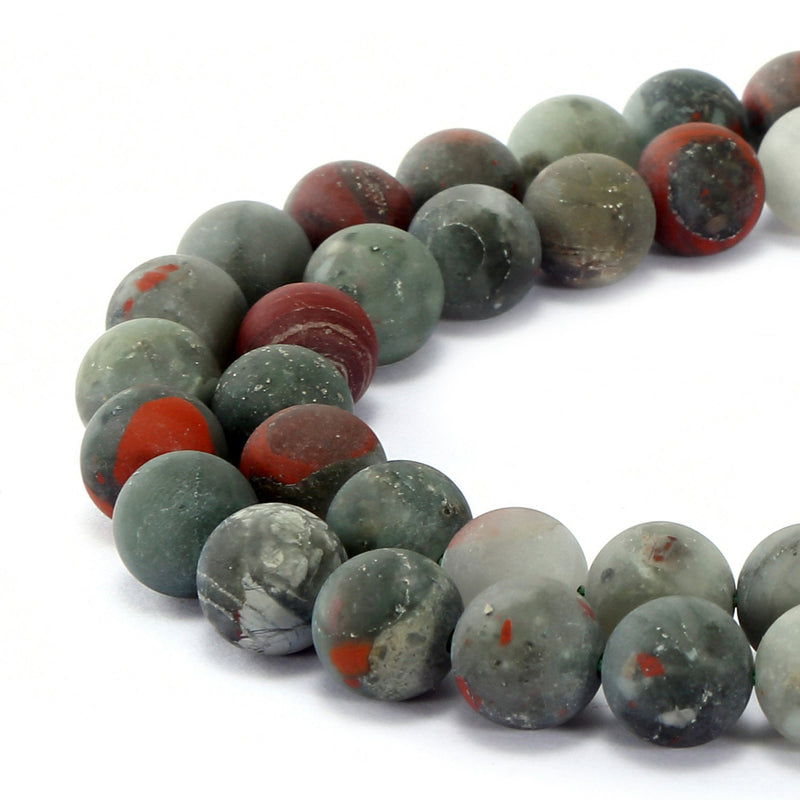 "African Bloodstone Matte Round Beads 4mm 6mm 8mm 10mm 12mm 15.5"" Strand"