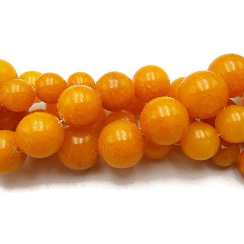 "Amber Yellow Dyed Jade Smooth Round Beads 14mm 16mm 18mm 20mm 15.5"" Strand"