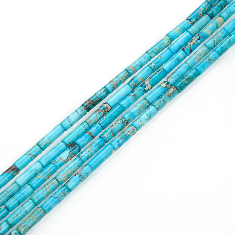 blue sea sediment jasper round tube beads