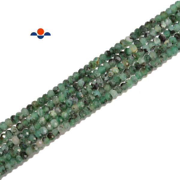 Natural Emerald Faceted Rondelle Beads Size 2x3mm 15.5'' Strand