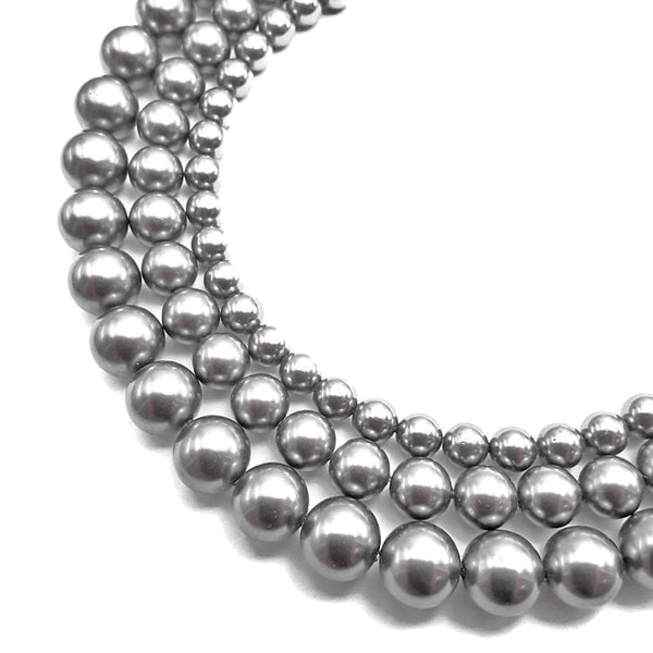 gray shell pearl smooth round beads