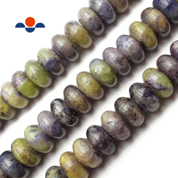 "Purple Green Charoite Smooth Rondelle Beads 6x12mm 15.5"" Strand"