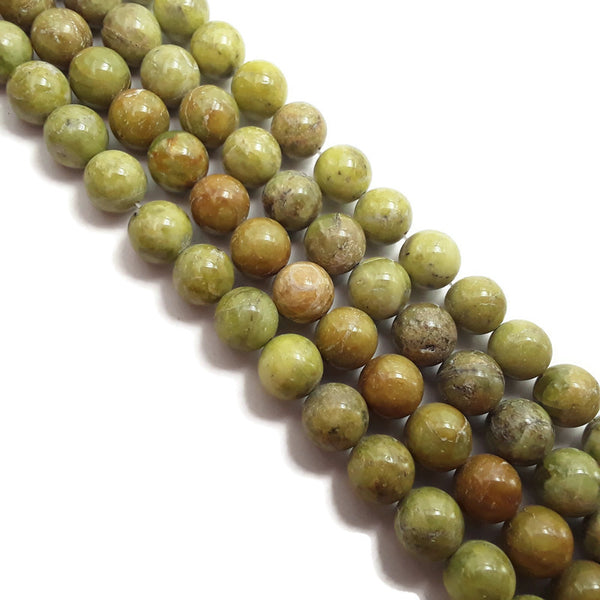olive green sea sediment jasper smooth round beads