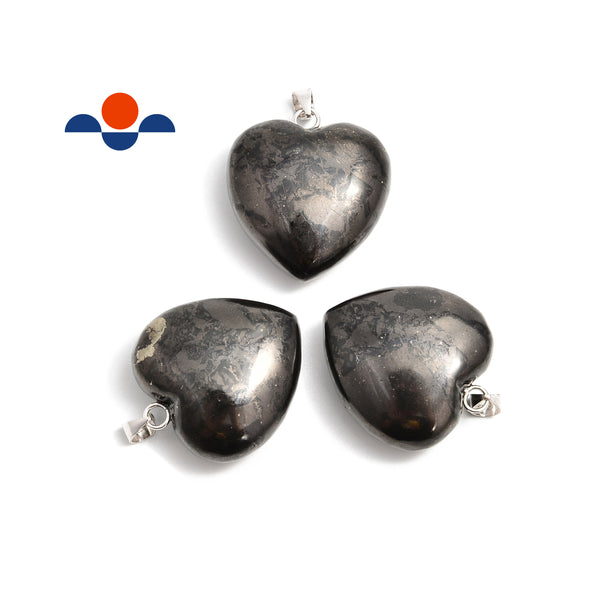 Natural Shungite Heart Shape /w Clasp Size 25mm Sold Per Piece