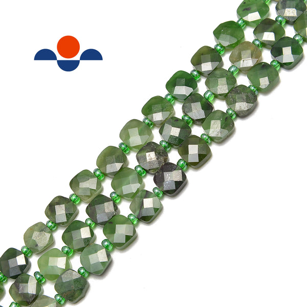 nephrite jade faceted flat square beads