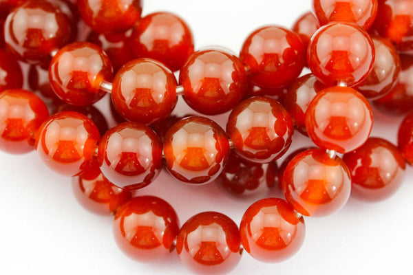 "2.0mm Hole Red Agate Carnelian Smooth Round Beads 6mm 8mm 10mm 15.5"" Strand"