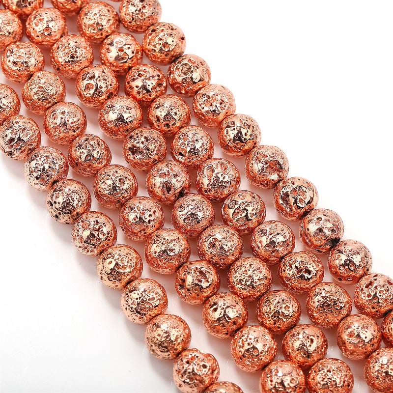 rose gold coated lava rock stone beads