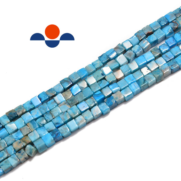 blue agate smooth square cube dice beads