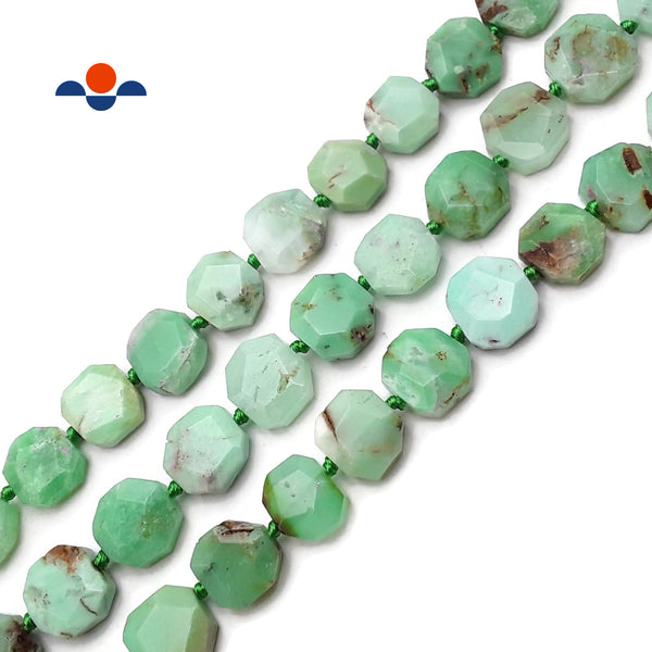 "Chrysoprase Faceted Octagon Flat Square Slice Beads Approx 15x15mm 15.5"" Strand"