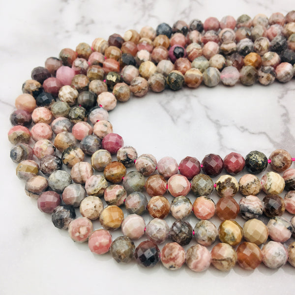 natural rhodochrosite faceted round beads
