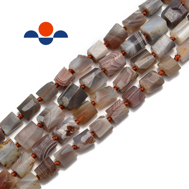 natural botswana agate irregular faceted cylinder tube beads