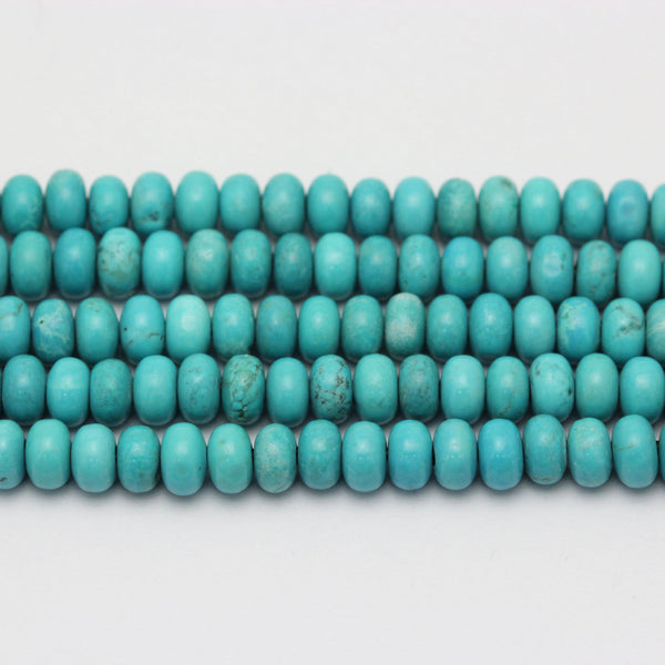 large hole blue turquoise beads smooth rondelle beads